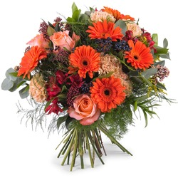 Mixed bouquet in orange shades (Vase Not Included)