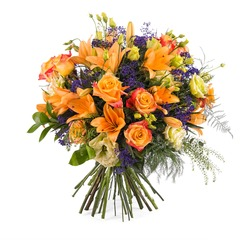 Special bouquet with orange roses (Vase Not Included)