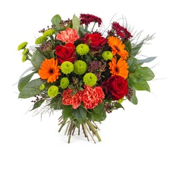 Bouquet in warm shades and greens (Vase Not Included)