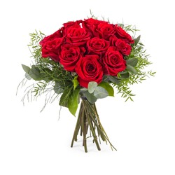 12 Short-stemmed Red Roses (Vase not included)