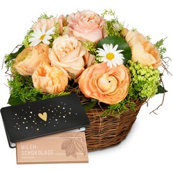 """Romantic Floral Reverie with bar of chocolate """"Heart"""""""