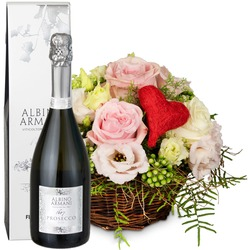 A Basket Filled with Love with Prosecco Albino Armani DOC (75cl)