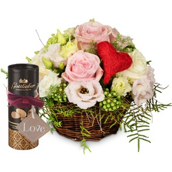 """A Basket Filled with Love with Gottlieber cocoa almonds and hanging gift tag """"Love"""""""