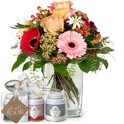 """Melody of Spring with Gottlieber tea gift set and hanging gift tag """"Get Well Soon"""""""