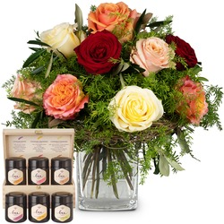 Fairy Tale of Roses with honey gift set (Vase not included)