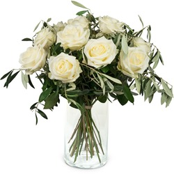 12 White Roses with greenery (Vase not included)