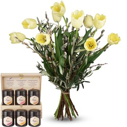 Natural - French Tulips with honey gift set