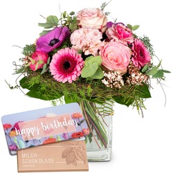 """Spring Greeting with Delicate Flowers with bar of chocolate """"Happy Birthday"""" (Vase not included)"""