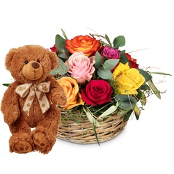 A Basket Full of Roses with teddy bear (brown)