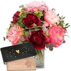 """Romantic peonies with bar of chocolate """"Heart"""" (Vase not included)"""
