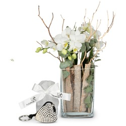 Lifestyle (orchid in a vase) incl. Key Ring with 112 Swarovski crystals