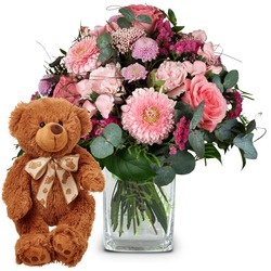 Fairy Tale in Pink with teddy bear (brown)