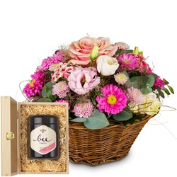 Basket Filled with Delicate Flowers with Swiss blossom honey
