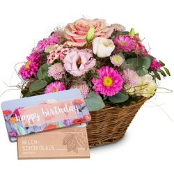"""Basket Filled with Delicate Flowers with bar of chocolate """"Happy Birthday"""""""