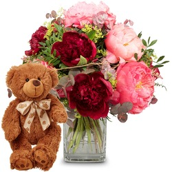 Romantic peonies with teddy bear (brown) (Vase not included)