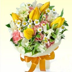Yellow Tulip Bouquet with Mixed Flowers
