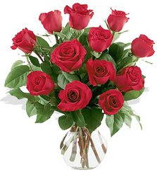 11 Roses Arranged in Vase